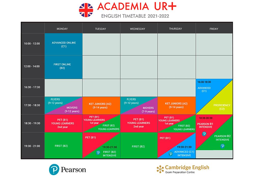 horarios academia de inglés Valencia